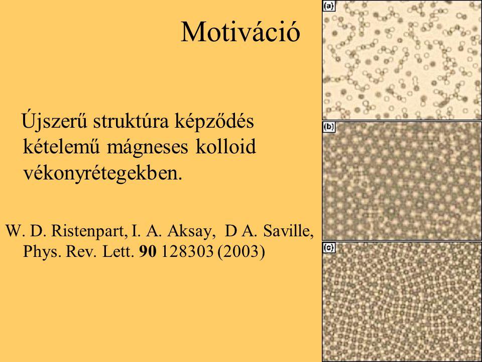 Motiváció Újszerű struktúra képződés kételemű mágneses kolloid vékonyrétegekben. W. D. Ristenpart, I. A. Aksay, D A. Saville, Phys. Rev. Lett. 90 1283