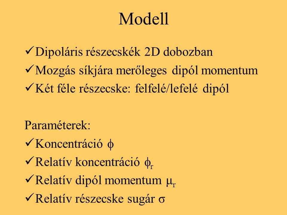 Modell Dipoláris részecskék 2D dobozban Mozgás síkjára merőleges dipól momentum Két féle részecske: felfelé/lefelé dipól Paraméterek: Koncentráció  R