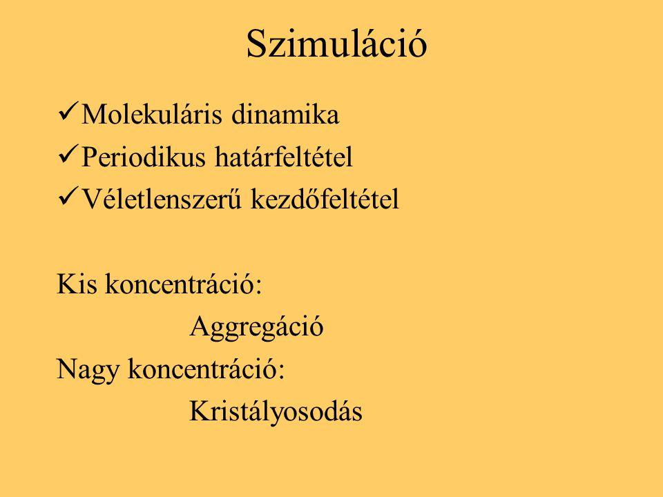 Szimuláció Molekuláris dinamika Periodikus határfeltétel Véletlenszerű kezdőfeltétel Kis koncentráció: Aggregáció Nagy koncentráció: Kristályosodás