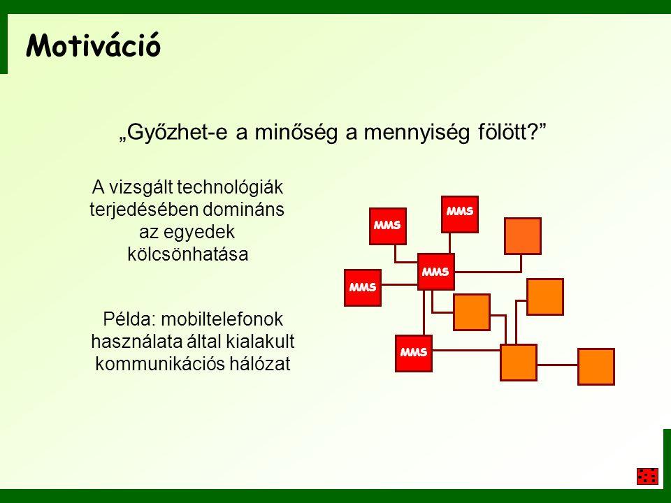 Motiváció A vizsgált technológiák terjedésében domináns az egyedek kölcsönhatása Példa: mobiltelefonok használata által kialakult kommunikációs hálóza