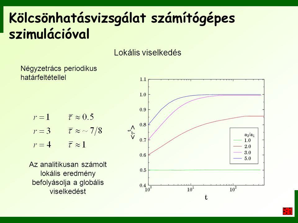 Kölcsönhatásvizsgálat számítógépes szimulációval Lokális viselkedés Négyzetrács periodikus határfeltétellel Az analitikusan számolt lokális eredmény b