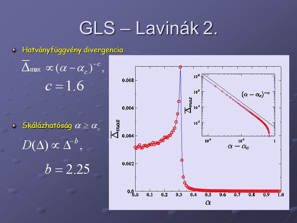 GLS – Lavinák 2. Hatványfüggvény divergencia Skálázhatóság