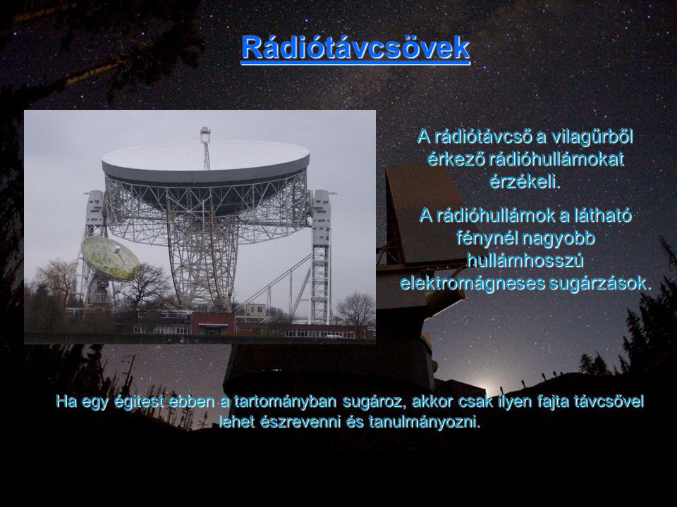 Rádiótávcsövek A rádiótávcső a vilagűrből érkező rádióhullámokat érzékeli. A rádióhullámok a látható fénynél nagyobb hullámhosszú elektromágneses sugá