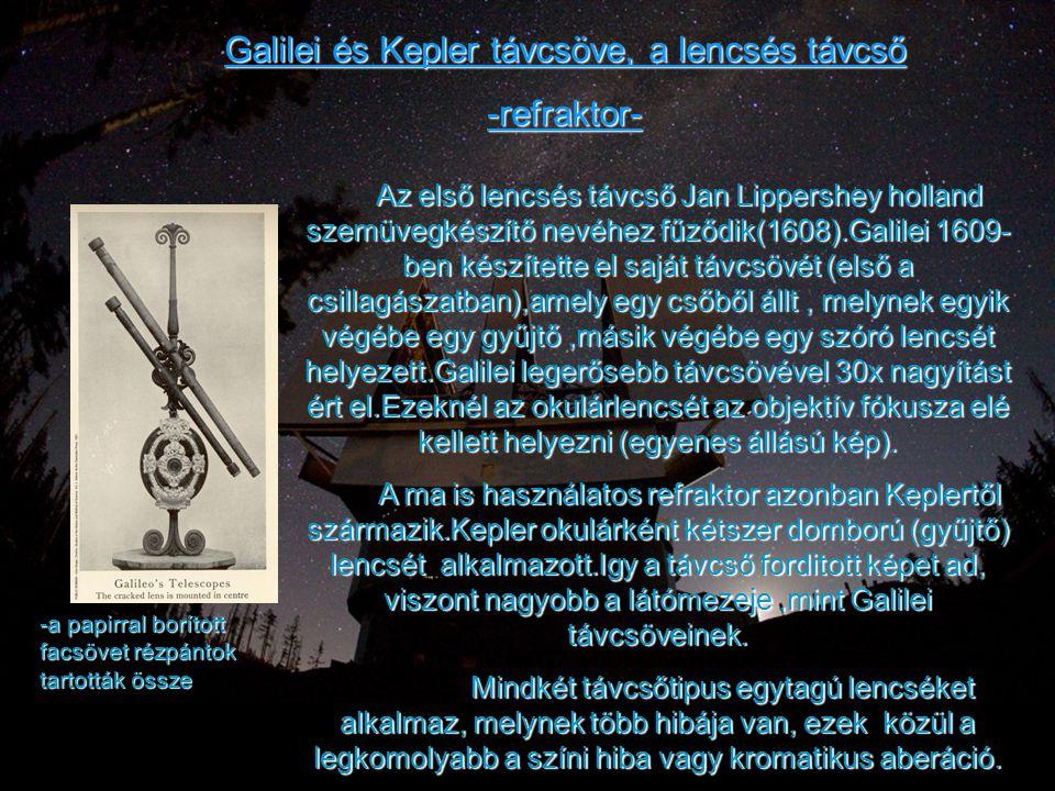 Galilei és Kepler távcsöve, a lencsés távcső -refraktor- -a papirral borított facsövet rézpántok tartották össze Az első lencsés távcső Jan Lippershey
