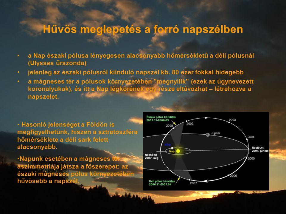 Hűvös meglepetés a forró napszélben a Nap északi pólusa lényegesen alacsonyabb hőmérsékletű a déli pólusnál (Ulysses űrszonda) jelenleg az északi pólu