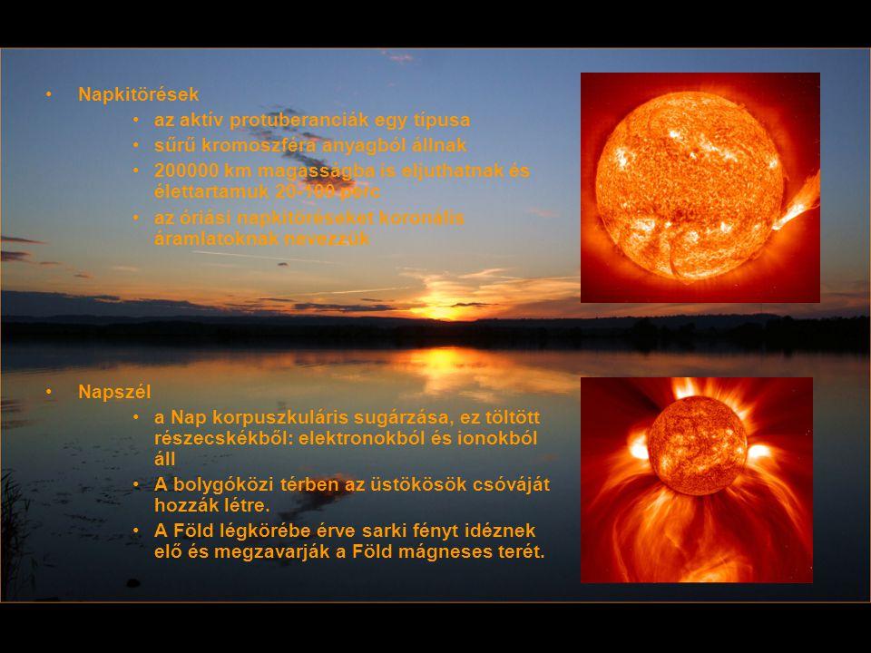 Napkitörések az aktív protuberanciák egy típusa sűrű kromoszféra anyagból állnak 200000 km magasságba is eljuthatnak és élettartamuk 20-100 perc az ór