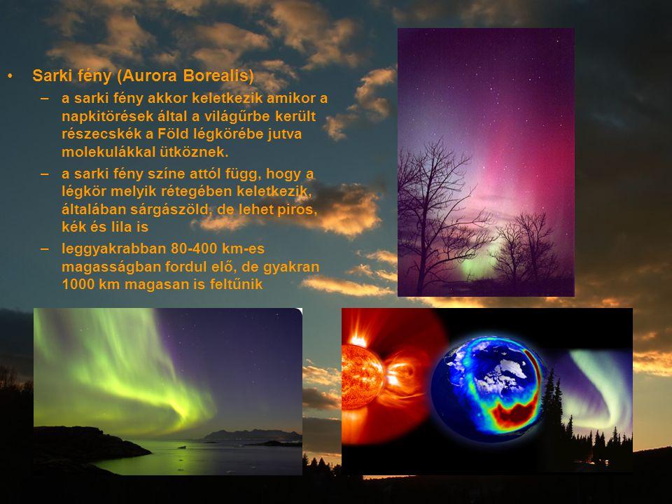 Sarki fény (Aurora Borealis) –a sarki fény akkor keletkezik amikor a napkitörések által a világűrbe került részecskék a Föld légkörébe jutva molekulák