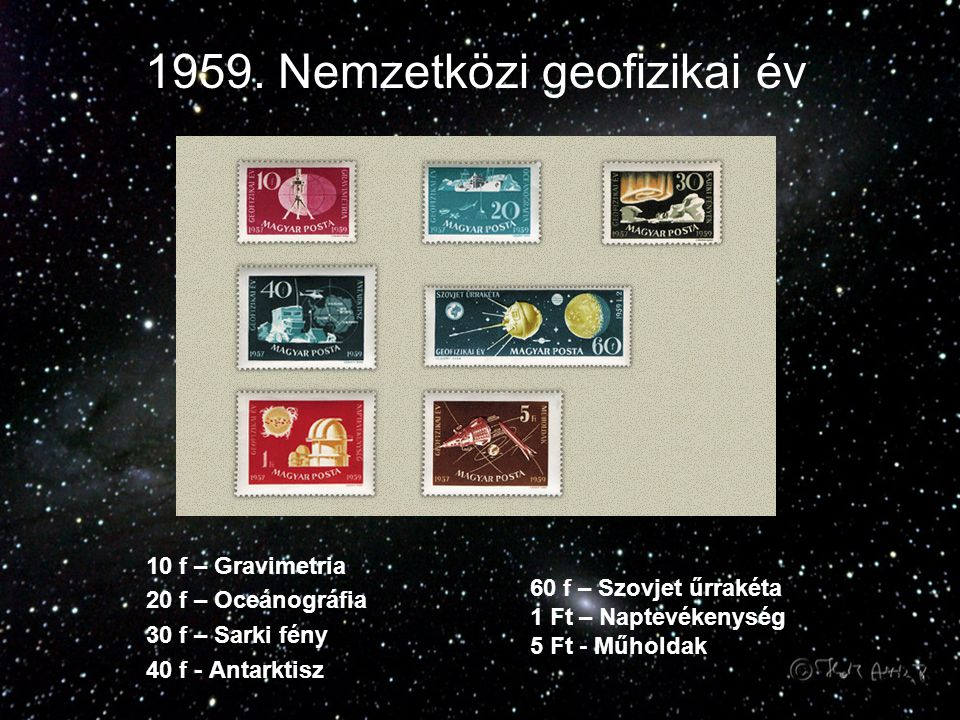 1959. Nemzetközi geofizikai év 10 f – Gravimetria 20 f – Oceánográfia 30 f – Sarki fény 40 f - Antarktisz 60 f – Szovjet űrrakéta 1 Ft – Naptevékenysé