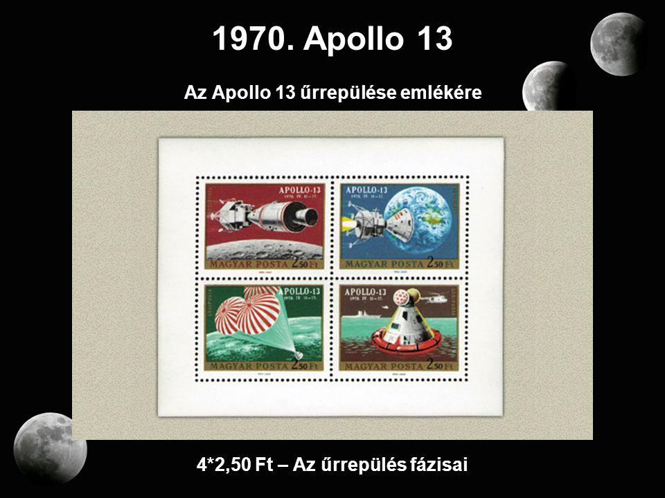 1970. Apollo 13 Az Apollo 13 űrrepülése emlékére 4*2,50 Ft – Az űrrepülés fázisai