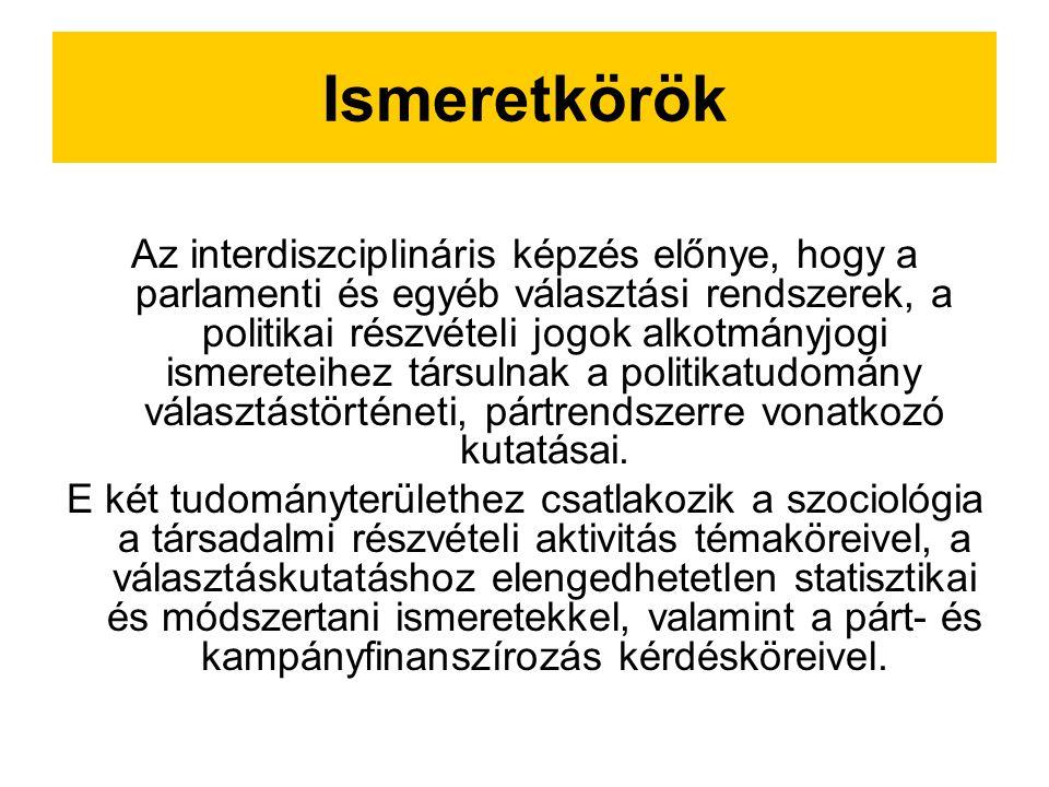 Ismeretkörök Az interdiszciplináris képzés előnye, hogy a parlamenti és egyéb választási rendszerek, a politikai részvételi jogok alkotmányjogi ismereteihez társulnak a politikatudomány választástörténeti, pártrendszerre vonatkozó kutatásai.