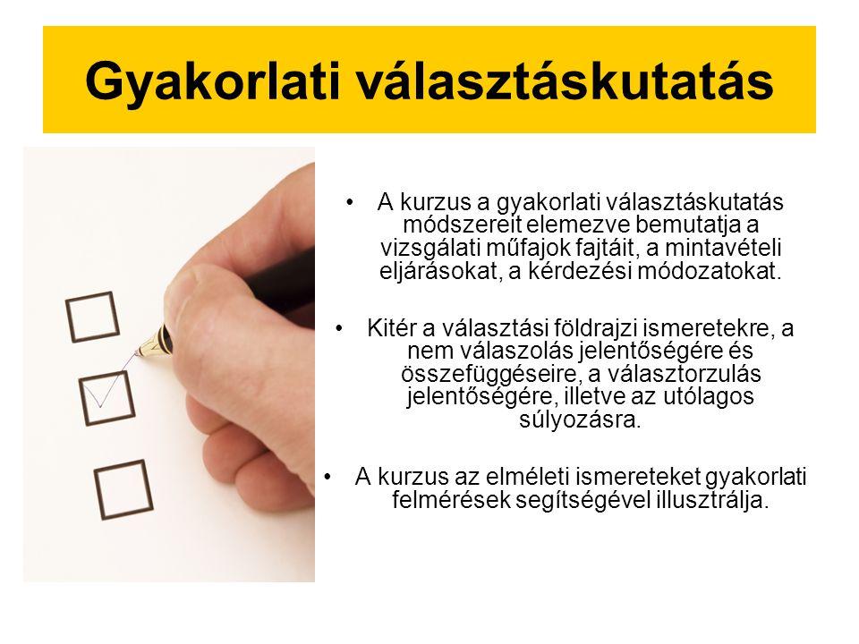 Gyakorlati választáskutatás A kurzus a gyakorlati választáskutatás módszereit elemezve bemutatja a vizsgálati műfajok fajtáit, a mintavételi eljárásokat, a kérdezési módozatokat.