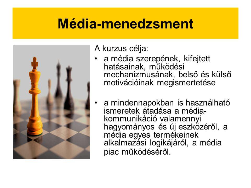 Média-menedzsment A kurzus célja: a média szerepének, kifejtett hatásainak, működési mechanizmusának, belső és külső motivációinak megismertetése a mindennapokban is használható ismeretek átadása a média- kommunikáció valamennyi hagyományos és új eszközéről, a média egyes termékeinek alkalmazási logikájáról, a média piac működéséről.