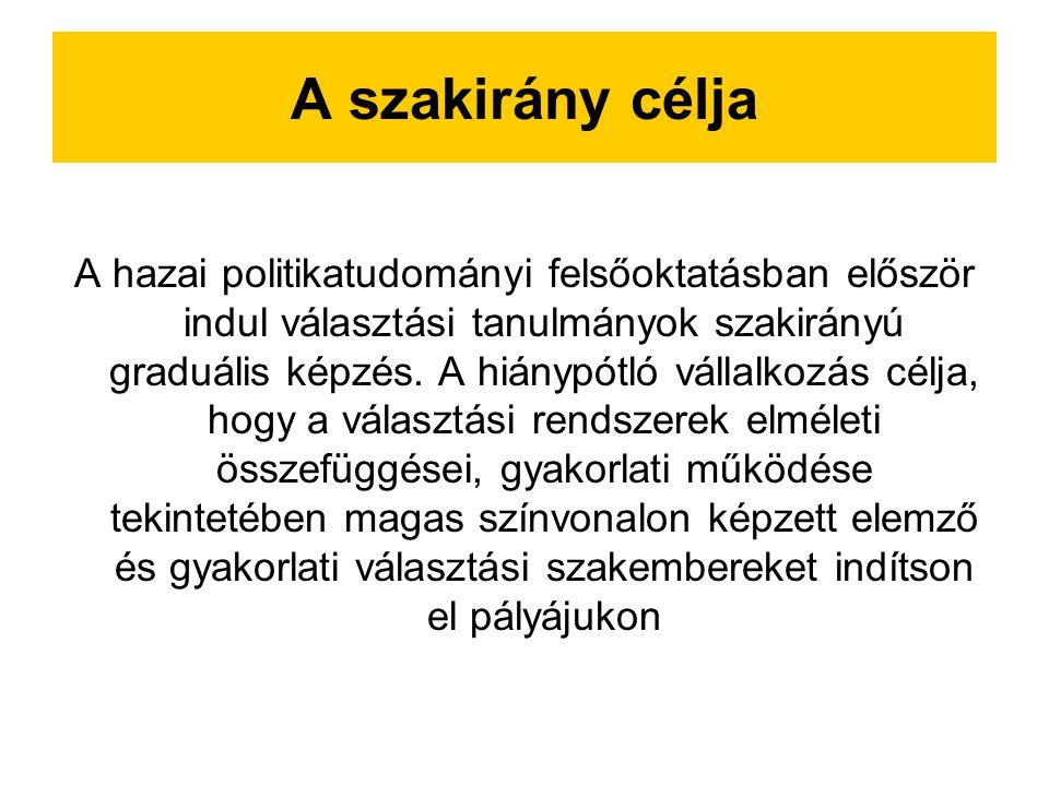 Ismeretkörök A szakirányon oktatott tárgyak felölelik a politikatudomány, a szociológia, valamint az alkotmányjog választásokkal kapcsolatos területeit.