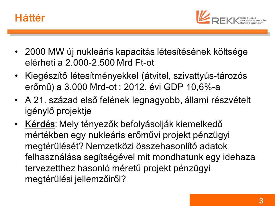 Háttér 2000 MW új nukleáris kapacitás létesítésének költsége elérheti a 2.000-2.500 Mrd Ft-ot Kiegészítő létesítményekkel (átvitel, szivattyús-tározós