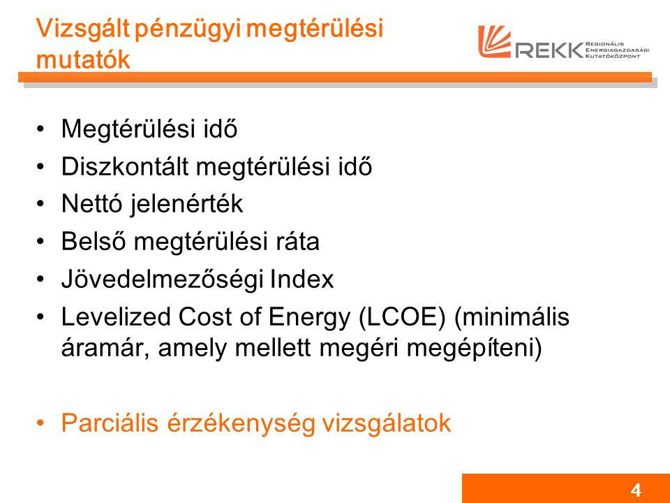 Vizsgált pénzügyi megtérülési mutatók Megtérülési idő Diszkontált megtérülési idő Nettó jelenérték Belső megtérülési ráta Jövedelmezőségi Index Levelized Cost of Energy (LCOE) (minimális áramár, amely mellett megéri megépíteni) Parciális érzékenység vizsgálatok 4
