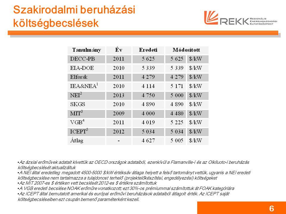 Az atomerőművi projekteknél alkalmazott diszkontráta 7 Irodalmi érték: 8-9% + kockázati felár.