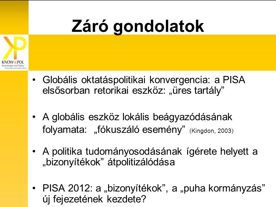 """Záró gondolatok Globális oktatáspolitikai konvergencia: a PISA elsősorban retorikai eszköz: """"üres tartály A globális eszköz lokális beágyazódásának folyamata: """"fókuszáló esemény (Kingdon, 2003) A politika tudományosodásának ígérete helyett a """"bizonyítékok átpolitizálódása PISA 2012: a """"bizonyítékok , a """"puha kormányzás új fejezetének kezdete"""