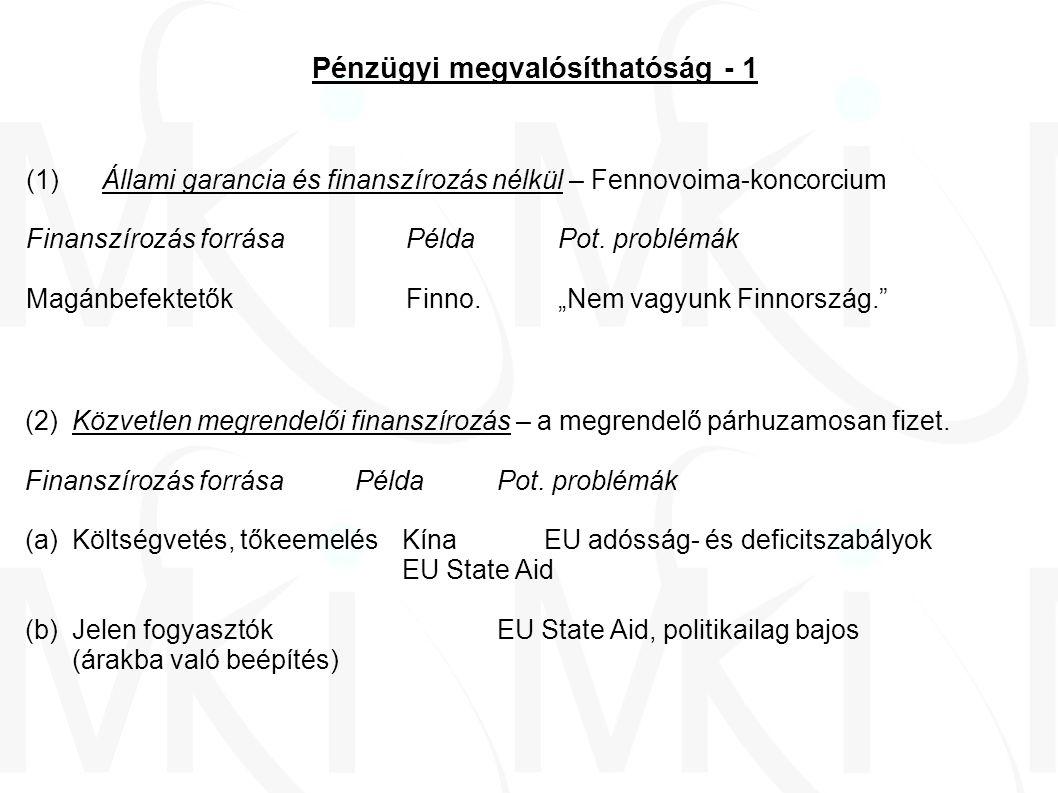 Pénzügyi megvalósíthatóság - 2 (3)Építés orosz hitelből, magyar állami garancia mellett Finanszírozás forrásaPéldaPot.