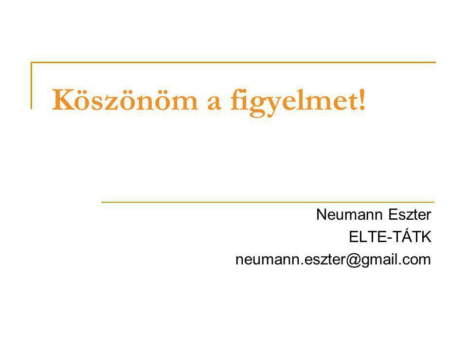 Köszönöm a figyelmet! Neumann Eszter ELTE-TÁTK neumann.eszter@gmail.com