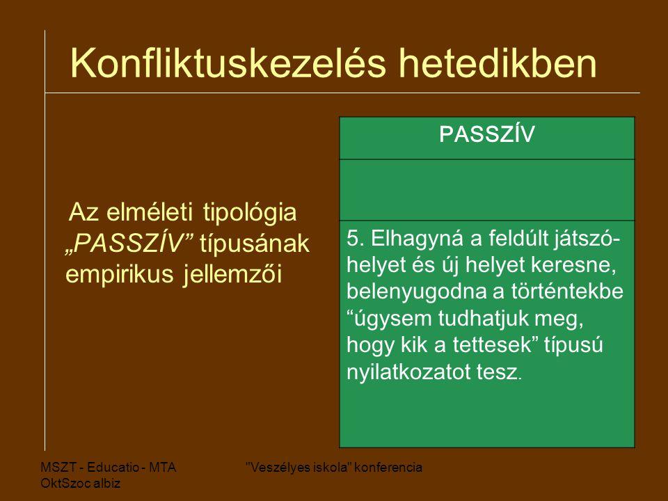 """MSZT - Educatio - MTA OktSzoc albiz Veszélyes iskola konferencia Konfliktuskezelés hetedikben Az elméleti tipológia """"PASSZÍV típusának empirikus jellemzői PASSZÍV 5."""