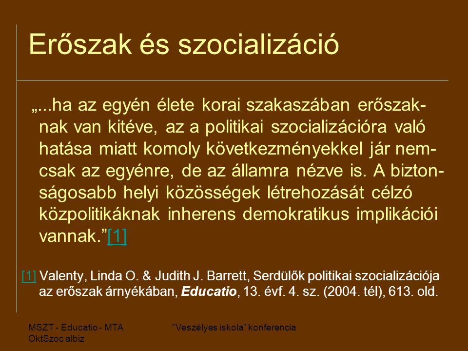 """MSZT - Educatio - MTA OktSzoc albiz Veszélyes iskola konferencia Erőszak és szocializáció """"...ha az egyén élete korai szakaszában erőszak- nak van kitéve, az a politikai szocializációra való hatása miatt komoly következményekkel jár nem- csak az egyénre, de az államra nézve is."""