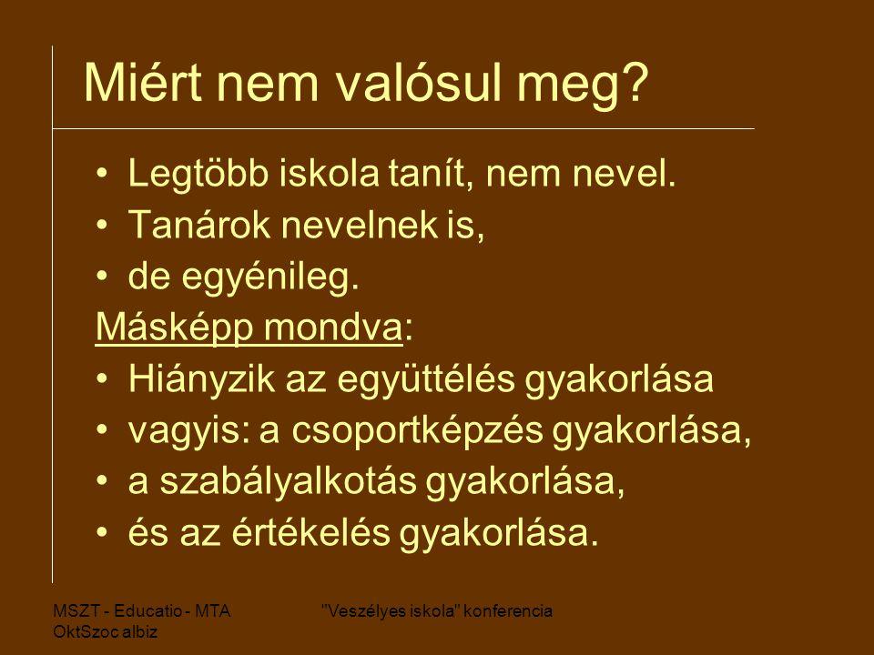 MSZT - Educatio - MTA OktSzoc albiz Veszélyes iskola konferencia Miért nem valósul meg.