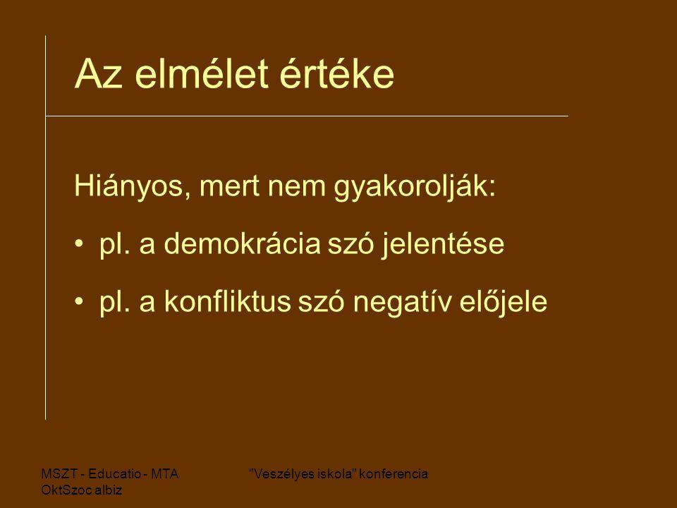 MSZT - Educatio - MTA OktSzoc albiz Veszélyes iskola konferencia Az elmélet értéke Hiányos, mert nem gyakorolják: pl.