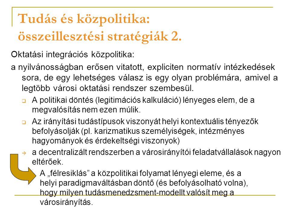 Tudás és közpolitika: összeillesztési stratégiák 2.
