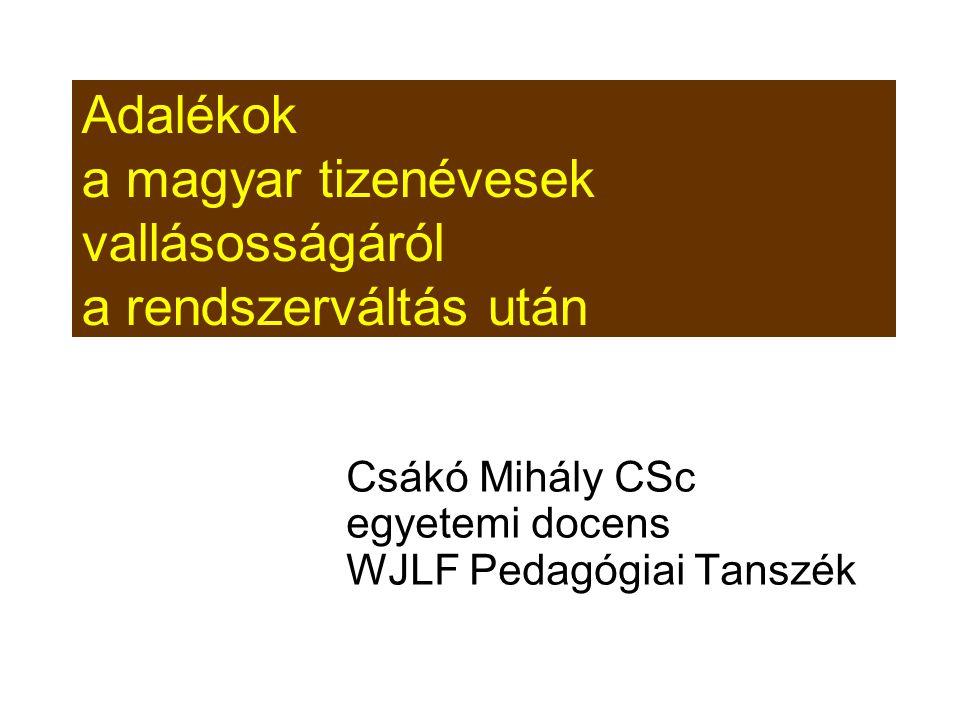 Adalékok a magyar tizenévesek vallásosságáról a rendszerváltás után Csákó Mihály CSc egyetemi docens WJLF Pedagógiai Tanszék