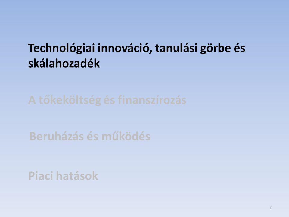 18 Technológiai innováció, tanulási görbe és skálahozadék A tőkeköltség és finanszírozás Beruházás és működés Piaci hatások