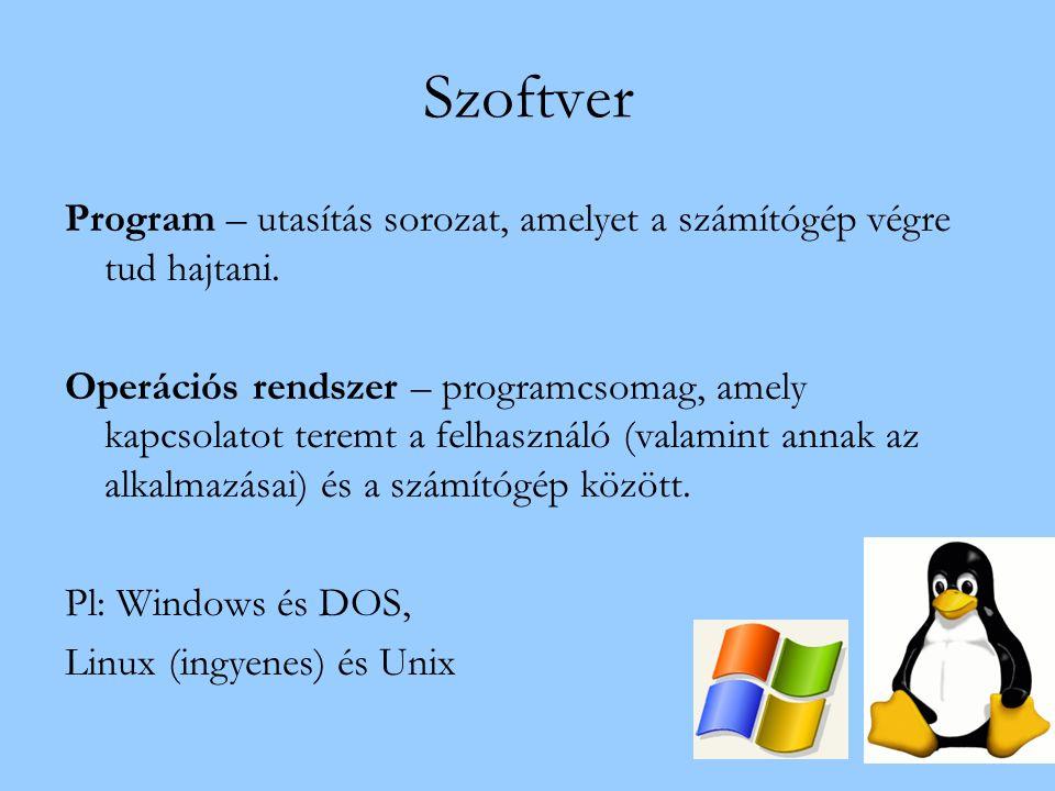 Szoftver Program – utasítás sorozat, amelyet a számítógép végre tud hajtani. Operációs rendszer – programcsomag, amely kapcsolatot teremt a felhasznál