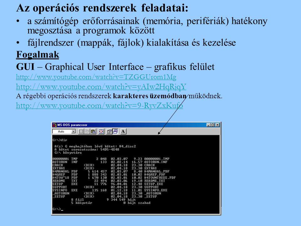 Az operációs rendszerek feladatai: a számítógép erőforrásainak (memória, perifériák) hatékony megosztása a programok között fájlrendszer (mappák, fájl