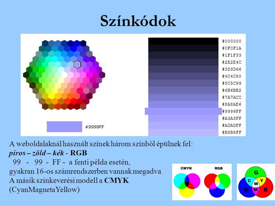 Színkódok A weboldalaknál használt színek három színből épülnek fel: piros – zöld – kék - RGB 99 - 99 - FF - a fenti példa esetén, gyakran 16-os számr