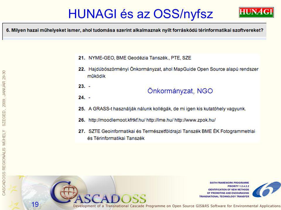 CASCADOSS REGIONÁLIS MŰHELY SZEGED, 2009. JANUÁR 29-30 19 HUNAGI és az OSS/nyfsz Önkormányzat, NGO