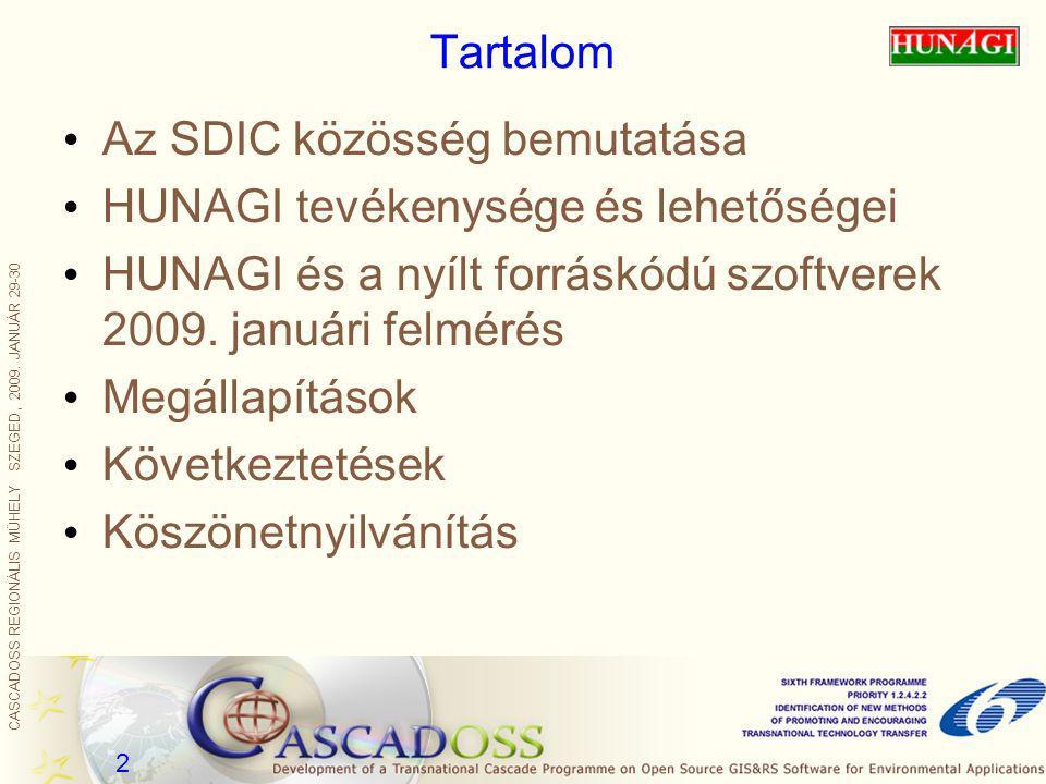 2 Tartalom Az SDIC közösség bemutatása HUNAGI tevékenysége és lehetőségei HUNAGI és a nyílt forráskódú szoftverek 2009. januári felmérés Megállapításo