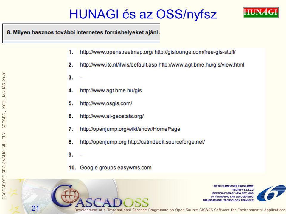 CASCADOSS REGIONÁLIS MŰHELY SZEGED, 2009. JANUÁR 29-30 21 HUNAGI és az OSS/nyfsz