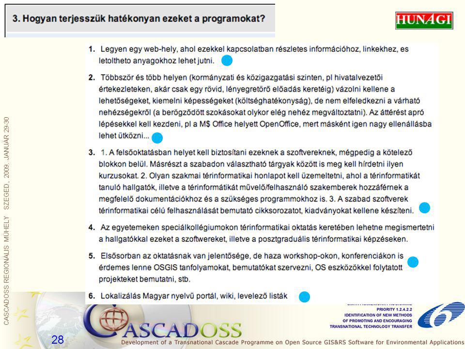 CASCADOSS REGIONÁLIS MŰHELY SZEGED, 2009. JANUÁR 29-30 28