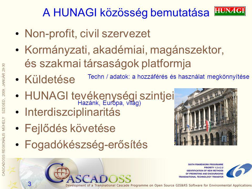CASCADOSS REGIONÁLIS MŰHELY SZEGED, 2009. JANUÁR 29-30 3 A HUNAGI közösség bemutatása Non-profit, civil szervezet Kormányzati, akadémiai, magánszektor