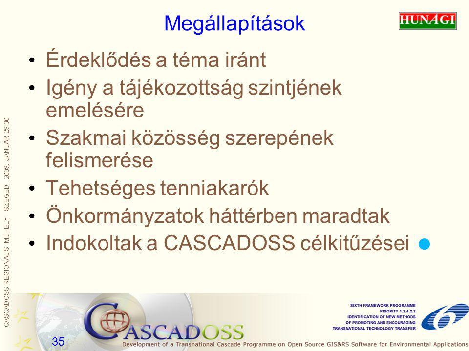CASCADOSS REGIONÁLIS MŰHELY SZEGED, 2009. JANUÁR 29-30 35 Megállapítások Érdeklődés a téma iránt Igény a tájékozottság szintjének emelésére Szakmai kö