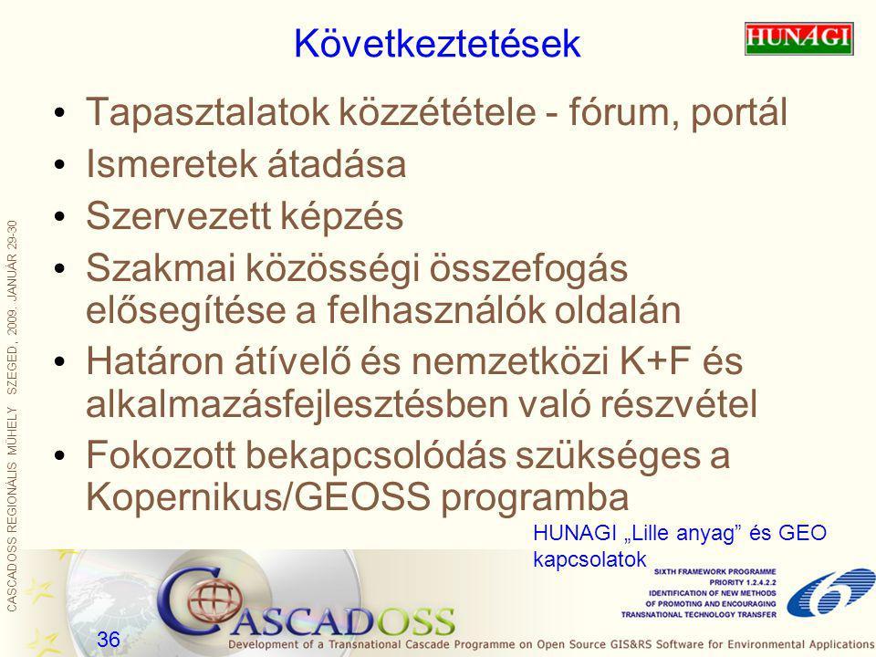 CASCADOSS REGIONÁLIS MŰHELY SZEGED, 2009. JANUÁR 29-30 36 Következtetések Tapasztalatok közzététele - fórum, portál Ismeretek átadása Szervezett képzé