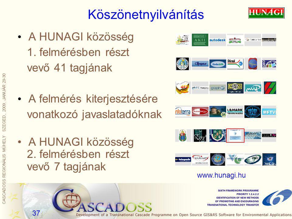 CASCADOSS REGIONÁLIS MŰHELY SZEGED, 2009. JANUÁR 29-30 37 Köszönetnyilvánítás A HUNAGI közösség 1. felmérésben részt vevő 41 tagjának A felmérés kiter