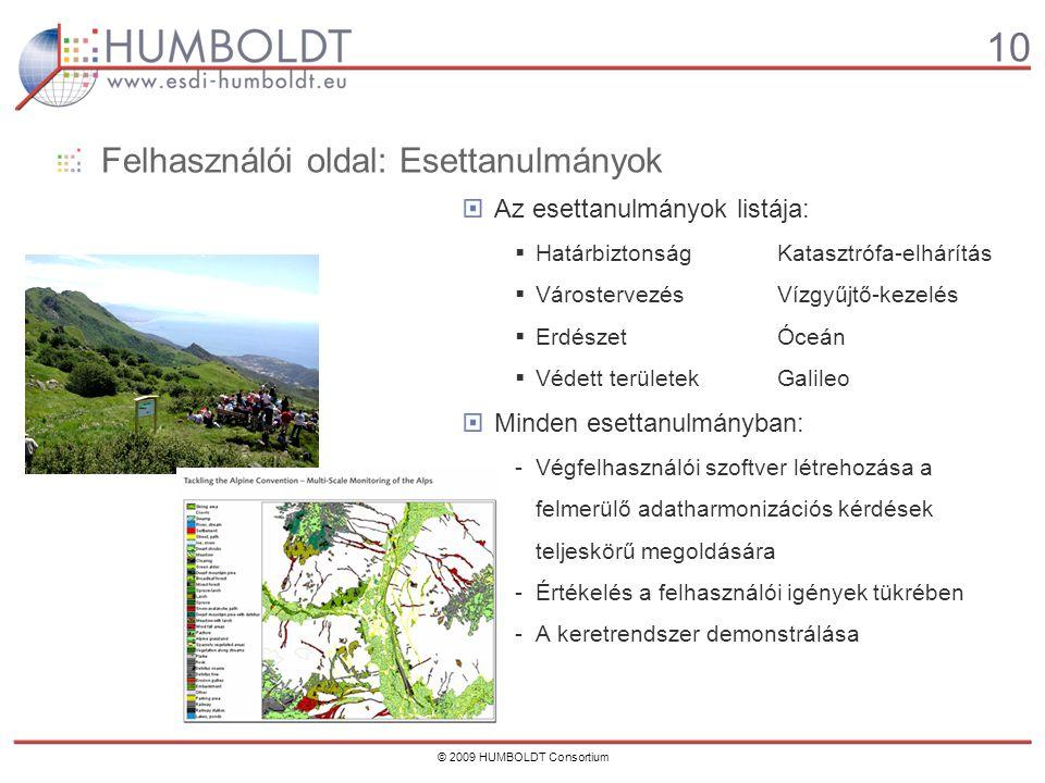 10 © 2009 HUMBOLDT Consortium Felhasználói oldal: Esettanulmányok Az esettanulmányok listája:  HatárbiztonságKatasztrófa-elhárítás  VárostervezésVízgyűjtő-kezelés  ErdészetÓceán  Védett területekGalileo Minden esettanulmányban: -Végfelhasználói szoftver létrehozása a felmerülő adatharmonizációs kérdések teljeskörű megoldására -Értékelés a felhasználói igények tükrében -A keretrendszer demonstrálása