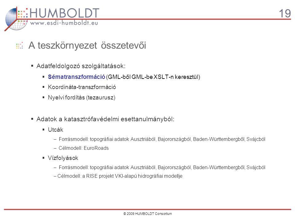 19 © 2009 HUMBOLDT Consortium A teszkörnyezet összetevői  Adatfeldolgozó szolgáltatások:  Sématranszformáció (GML-ből GML-be XSLT-n keresztül)  Koordináta-transzformáció  Nyelvi fordítás (tezaurusz)  Adatok a katasztrófavédelmi esettanulmányból:  Utcák – Forrásmodell: topográfiai adatok Ausztriából, Bajorországból, Baden-Württembergből, Svájcból – Célmodell: EuroRoads  Vízfolyások – Forrásmodell: topográfiai adatok Ausztriából, Bajorországból, Baden-Württembergből, Svájcból –Célmodell: a RISE projekt VKI-alapú hidrográfiai modellje