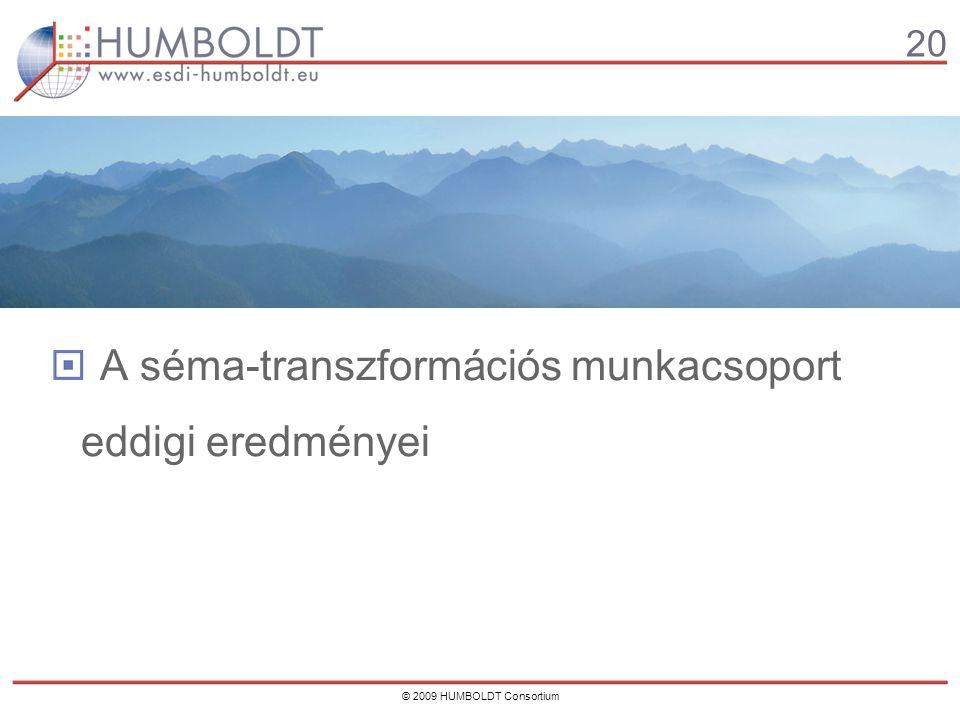 20 © 2009 HUMBOLDT Consortium A séma-transzformációs munkacsoport eddigi eredményei