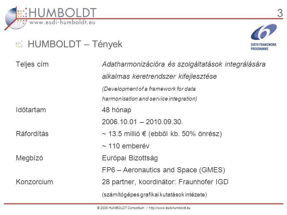 3 © 2008 HUMBOLDT Consortium / http://www.esdi-humboldt.eu HUMBOLDT – Tények Teljes címAdatharmonizációra és szolgáltatások integrálására alkalmas keretrendszer kifejlesztése (Development of a framework for data harmonisation and service integration) Időtartam48 hónap 2006.10.01 – 2010.09.30.