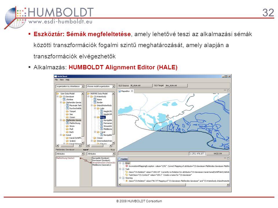32 © 2009 HUMBOLDT Consortium  Eszköztár: Sémák megfeleltetése, amely lehetővé teszi az alkalmazási sémák közötti transzformációk fogalmi szintű meghatározását, amely alapján a transzformációk elvégezhetők  Alkalmazás: HUMBOLDT Alignment Editor (HALE)