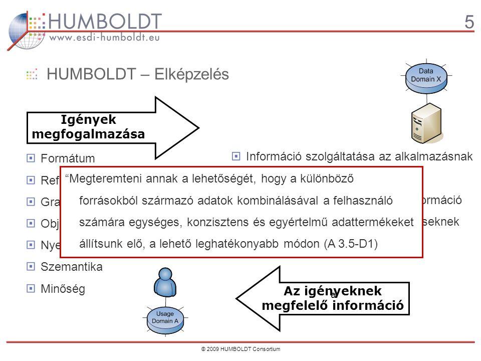 5 © 2009 HUMBOLDT Consortium HUMBOLDT – Elképzelés Formátum Referencia-rendszer Grafikus forma Objektum-generálás Nyelv Szemantika Minőség Információ szolgáltatása az alkalmazásnak megfelelő nyelven/szemantikával  Közvetlenül felhasználható információ Információ a minőségről, a kitűzéseknek való megfelelőségről Igények megfogalmazása Az igényeknek megfelelő információ a Megteremteni annak a lehetőségét, hogy a különböző forrásokból származó adatok kombinálásával a felhasználó számára egységes, konzisztens és egyértelmű adattermékeket állítsunk elő, a lehető leghatékonyabb módon (A 3.5-D1)