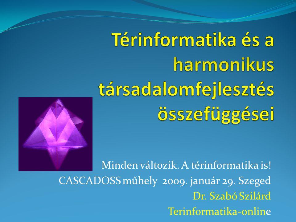 Minden változik. A térinformatika is! CASCADOSS műhely 2009. január 29. Szeged Dr. Szabó Szilárd Terinformatika-online