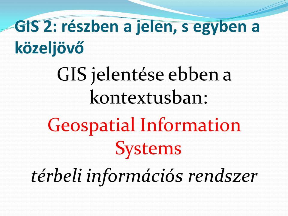 GIS 2: részben a jelen, s egyben a közeljövő GIS jelentése ebben a kontextusban: Geospatial Information Systems térbeli információs rendszer
