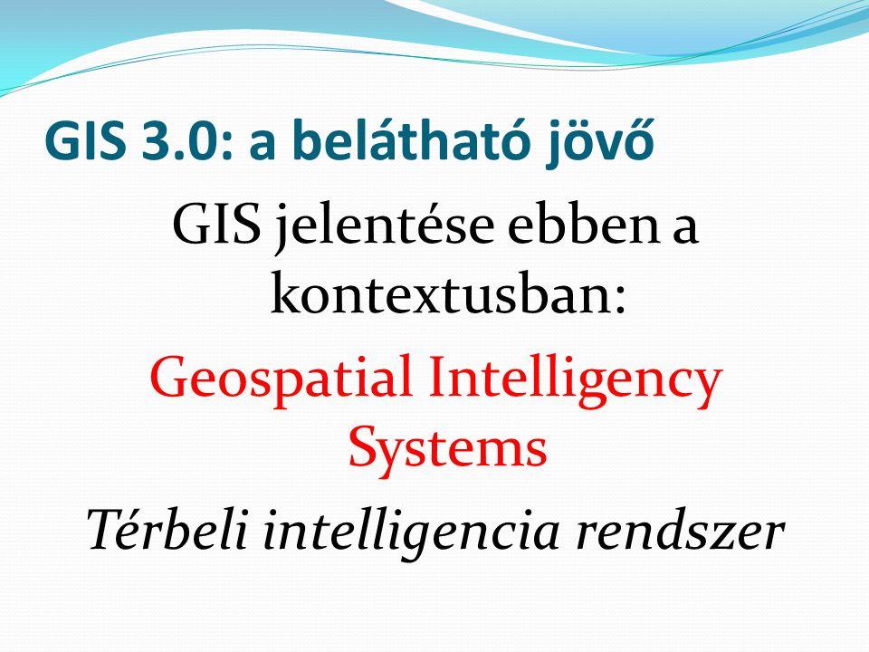 GIS 3.0: a belátható jövő GIS jelentése ebben a kontextusban: Geospatial Intelligency Systems Térbeli intelligencia rendszer